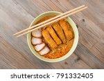 top view curry laksa  a popular ... | Shutterstock . vector #791332405