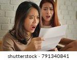 frustrated  shocked women... | Shutterstock . vector #791340841