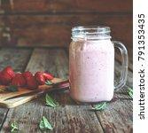 detox. summer detox. strawberry ... | Shutterstock . vector #791353435