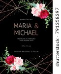 stylish dark geometric wedding... | Shutterstock .eps vector #791358397
