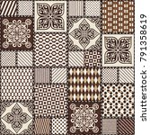 hand drawn seamless patchwork... | Shutterstock .eps vector #791358619