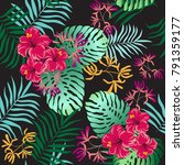 tropical leaves and flowers... | Shutterstock .eps vector #791359177