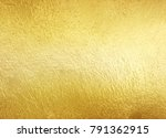 shiny yellow gold foil texture... | Shutterstock . vector #791362915