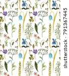 wild grass and flowers... | Shutterstock . vector #791367445
