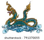 hand drawn thai dragon on water ... | Shutterstock .eps vector #791370055