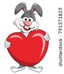 cute bunny or rabbit holding... | Shutterstock .eps vector #791371825