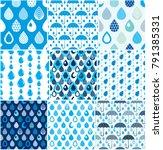 rain drops and umbrellas... | Shutterstock .eps vector #791385331