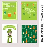 set of colorful cards for saint ... | Shutterstock .eps vector #791389384
