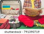planning a trip  a map  a... | Shutterstock . vector #791390719