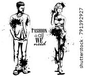 vector woman and man fashion | Shutterstock .eps vector #791392927