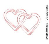 two hearts intertwined on white ... | Shutterstock .eps vector #791393851