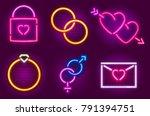 set of wedding neon symbols on... | Shutterstock .eps vector #791394751