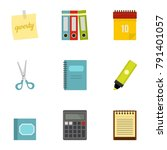 office stuff icon set. flat... | Shutterstock . vector #791401057