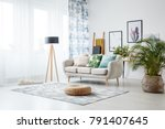 black lamp standing by a sofa... | Shutterstock . vector #791407645