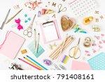 flat lay stylish set  clipboard ... | Shutterstock . vector #791408161