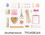flat lay stylish set  clipboard ... | Shutterstock . vector #791408164