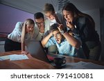 business people working late... | Shutterstock . vector #791410081