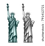 statue of liberty. symbol of... | Shutterstock .eps vector #791412721
