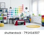 spacious kid room with dots...   Shutterstock . vector #791416507