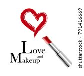 makeup and love. metallic... | Shutterstock .eps vector #791416669