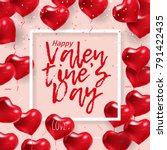 Love banner with red balloon hearts on pink background. Text Happy Valentine's Day. Vector holiday card graphic design with simple forms in realistic style. Good for invitation poster, greeting card