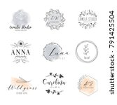 vector trendy hand drawn beauty ... | Shutterstock .eps vector #791425504