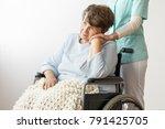 sad disabled senior woman...   Shutterstock . vector #791425705