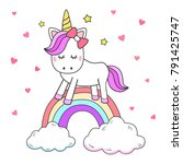 unicorn drawing isolated on... | Shutterstock .eps vector #791425747
