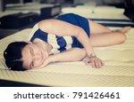 female is lying on mattress for ... | Shutterstock . vector #791426461