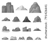 different mountains monochrome...   Shutterstock .eps vector #791426641