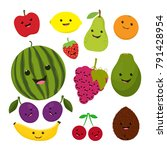 funny fruit cartoon isolated on ... | Shutterstock .eps vector #791428954