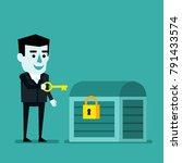 cheerful businessman holds... | Shutterstock .eps vector #791433574