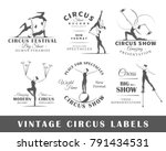set of vintage circus labels.... | Shutterstock .eps vector #791434531