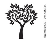black tree with leaves. vector... | Shutterstock .eps vector #791435851