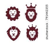 super mega collection lion face ...   Shutterstock .eps vector #791442355