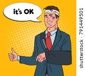pop art beaten businessman with ... | Shutterstock .eps vector #791449501