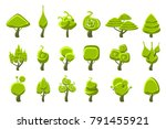 trees with weird shape crown set | Shutterstock .eps vector #791455921