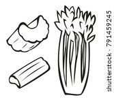 vector vegetables black and... | Shutterstock .eps vector #791459245