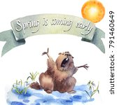 happy groundhog day   hand hand ... | Shutterstock . vector #791460649