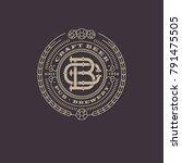 Beer emblem. Interlaced letters. B and C monogram. Craft beer logo. Antique sign like an engraving.