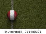 peru flag football on a green... | Shutterstock . vector #791480371