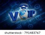 3d illustration voip | Shutterstock . vector #791483767