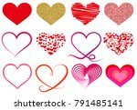 collection of different heart... | Shutterstock . vector #791485141