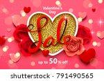 valentines day sale background...   Shutterstock .eps vector #791490565