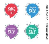 sale and discount circle speech ... | Shutterstock .eps vector #791491489