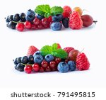set of fresh fruits and berries.... | Shutterstock . vector #791495815
