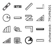 ruler icons. set of 16 editable ... | Shutterstock .eps vector #791496301