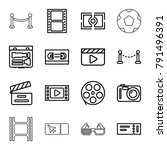 cinema icons. set of 16... | Shutterstock .eps vector #791496391