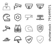 guard icons. set of 16 editable ...   Shutterstock .eps vector #791499571