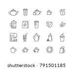set of coffee and tea vector... | Shutterstock .eps vector #791501185